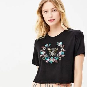 TopShop Beaded Cropped Short Sleeve Blouse Top